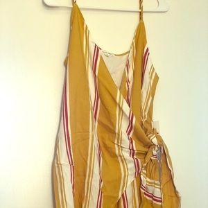 Striped Wrap-Front Mini Dress